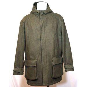 J. Crew Mens Large Dark Green Wool Blend Overcoat